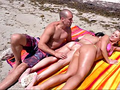 candice dare gets ass and legs smeared with sun block