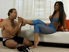 Christina Aguchi the Oriental dominatrix gets feet and besides booty licked