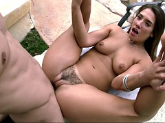 impeccable girl eva lovia getting her hairy pussy slammed