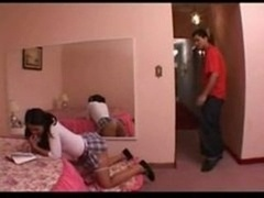 Naughty schoolgirl rears his tooshie & bangs with her f