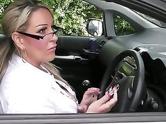 Door salesgirl scores herself a sale