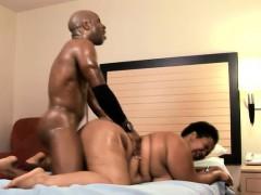 Fleshy black slut squeezes ebony stud's cock with her fat pussy