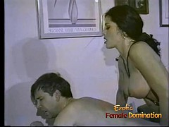 Slim raven-haired stunner makes a horny dude suck and ride a