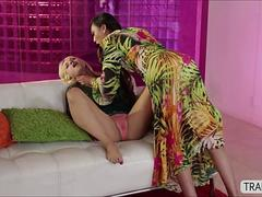 Trans Venus penetrates hottie blonde Sarah in cross gender sex