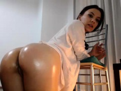 Big ass brunette loves to masturbate with dildo