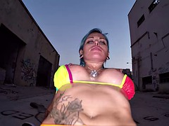 Punk girl fucked on the street