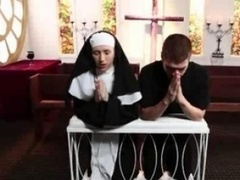 Blonde nun pounded in group fucking action
