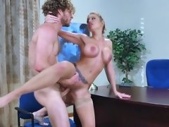 Sweet looking blonde gets fucked so hard during a job interview