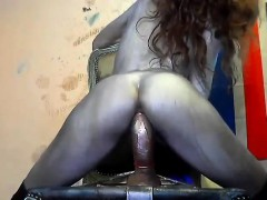 Painted Girl Trying Anal On Her Chair
