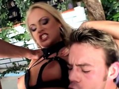 European slut sucks two dicks and gets penetrated in both