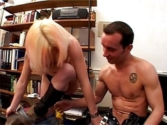 Skanky slut with blonde hair & eyebrows wraps her lips around a hard dick