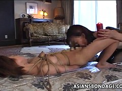 Asian slut has a hot time as she is waxed bdsm style