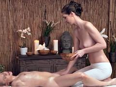 Lesbian masseuse grinding babes body