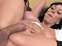 Amazing brunette cougar and her young lover