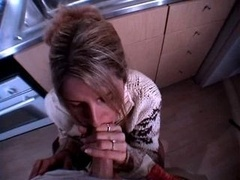 eager mom gets facial cumshot in the kitchen