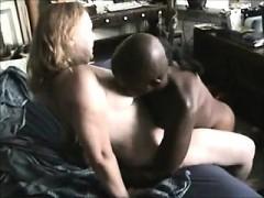 Mature blonde milf banging big black cock