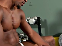 ebony piece of muscle pulling his hard cock