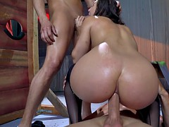 abella danger deepthroats one cock while anally riding the other