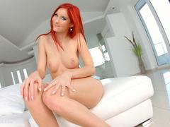 Givemepink Shy redhead teases with her nice boobs before inserting toys in both of her holes