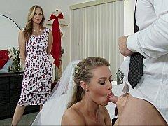 ブロンド, 結婚, ドレス, 家族, 女 人男 人, ポルノスター, 三人, 結婚式