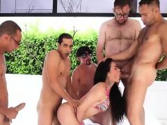 Tranny gangbanged by five big cocks