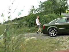 Czech boy with huge cock gets handjob outdoor