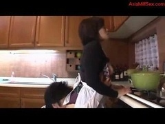 Sexually available mom Getting Her Honey pot Licked Fingered Boobs Rubbed In The Kitchen