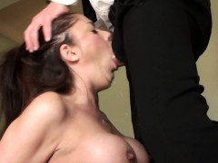 British cum swallowing MILF roughly throated