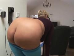 Mature English granny showing off nice big ass