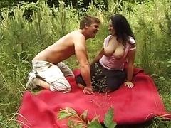 Brunette German Adult bbw in outdoor making love & squirting