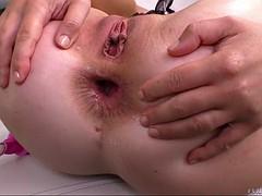 fishnet-clad tiffany doll enjoys an anal reaming