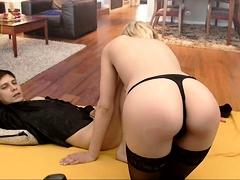 Hot brunette lingerie tease in sheer stockings