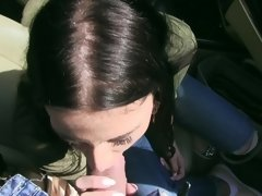 Long-haired peach is able to caress penis in the car
