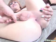 Bigcock amateur trans jerks on casting couch
