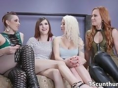Tiedup TS pussylicking in amazing foursome