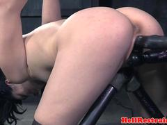Toyed restrained submissive queens babe