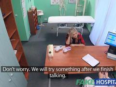 Fake Hospital Petite blonde deepthroats a thick dick before rough fuck