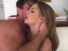 A brunette pornstar spits on a cock and then she does a blow job