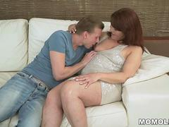 Redhead mature slut is excited to swallow that hulking member and get scored in many positions by this handsome super stud