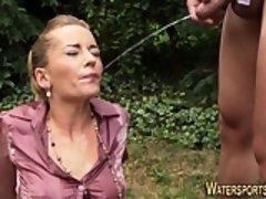 Jizz faced slut pissing