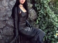 Black Tight leather skirt lady