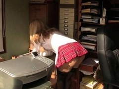 Filthy office kitten large toy solo shenanigans and additionally orgasm