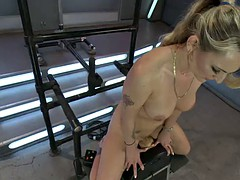 kinky blonde's fucked silly by many machines