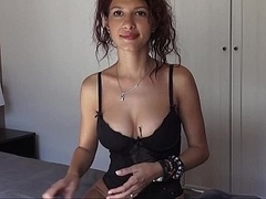 Flirty girl with perky natural titties spreading on a live camera