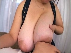Nursing on Big Asian Knockers Leads to Handjob