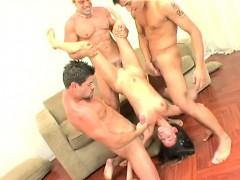Exotic young slut Manuela Febroni takes a double penetration and a double facial