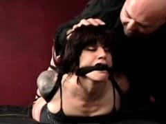 Nipple torture and sex tool play for ballgagged slut