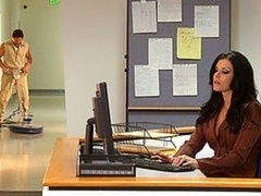 She gets so aroused at work she loses control & fucks the janitor