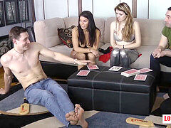 2 folks and trio gals Playing some Strip Games