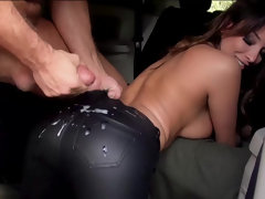 Anissa Kate gets a huge load over her leather pants after hard car fucking